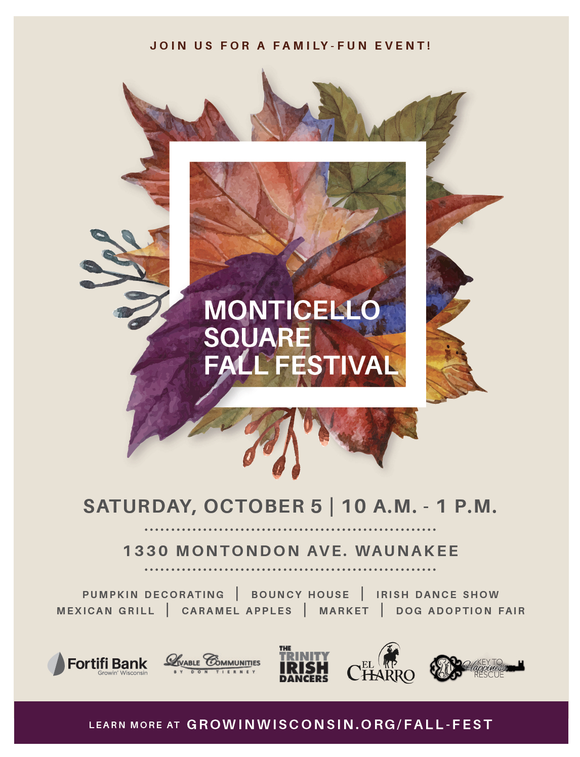 Fall Festival at Monticello Square October 5th, 10a.m.